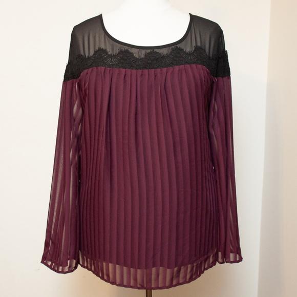 torrid Tops - Torrid Black Lace and Merlot Pleated Top Size 4